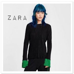 Zara Pleated Shirt With Contrasting Cuffs - NWT